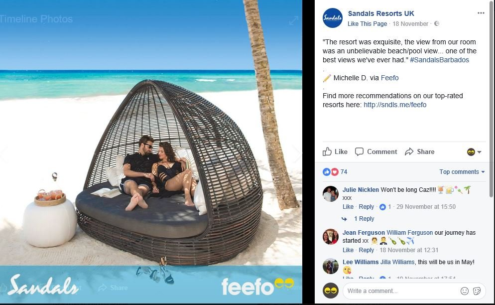 Sandals Resorts review Facebook