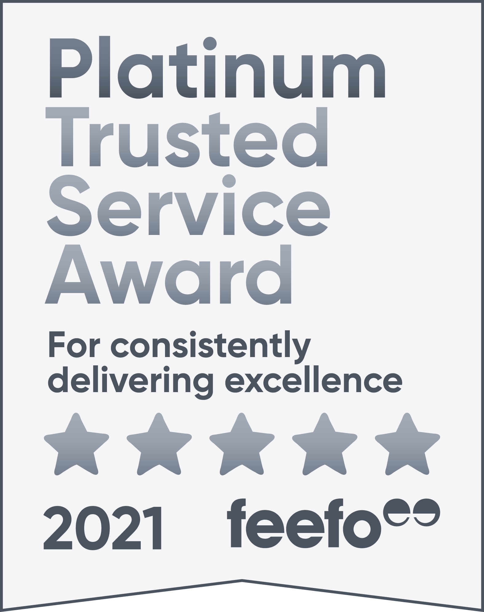 Feefo Plainum Trusted Service 2021 Award logo